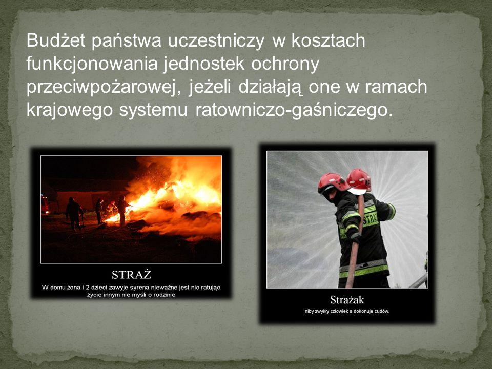 Budżet państwa uczestniczy w kosztach funkcjonowania jednostek ochrony przeciwpożarowej, jeżeli działają one w ramach krajowego systemu ratowniczo-gaś