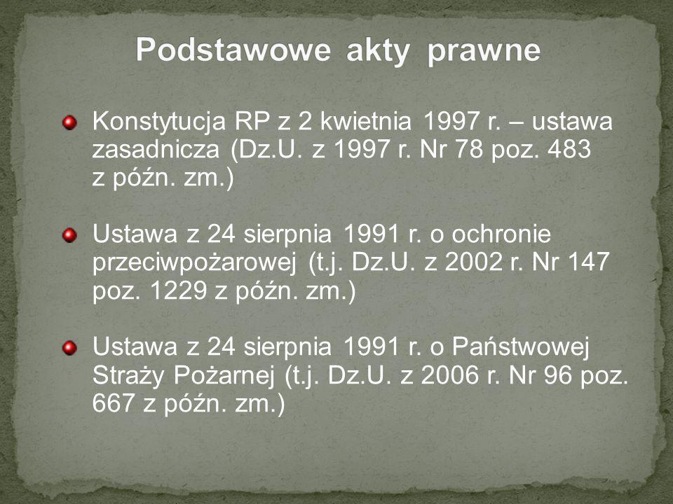 Konstytucja RP z 2 kwietnia 1997 r. – ustawa zasadnicza (Dz.U. z 1997 r. Nr 78 poz. 483 z późn. zm.) Ustawa z 24 sierpnia 1991 r. o ochronie przeciwpo
