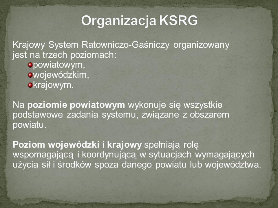 Krajowy System Ratowniczo-Gaśniczy organizowany jest na trzech poziomach: powiatowym, wojewódzkim, krajowym. Na poziomie powiatowym wykonuje się wszys