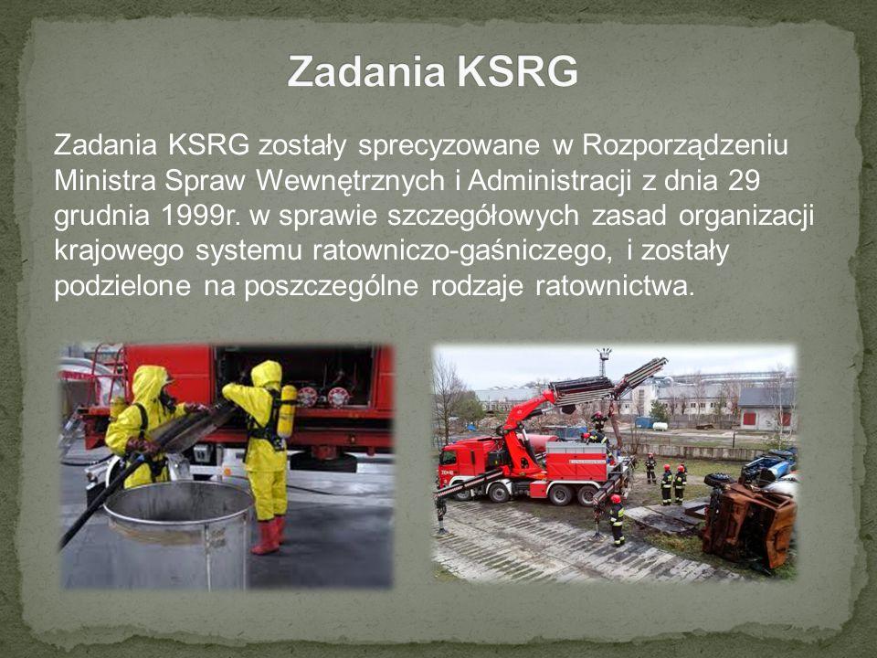 Zadania KSRG zostały sprecyzowane w Rozporządzeniu Ministra Spraw Wewnętrznych i Administracji z dnia 29 grudnia 1999r. w sprawie szczegółowych zasad