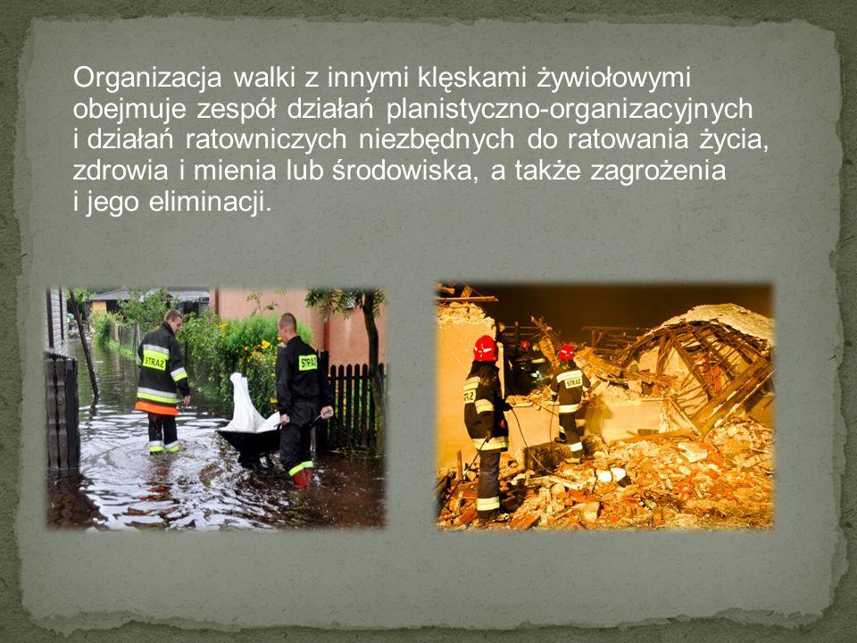 Organizacja walki z innymi klęskami żywiołowymi obejmuje zespół działań planistyczno-organizacyjnych i działań ratowniczych niezbędnych do ratowania ż