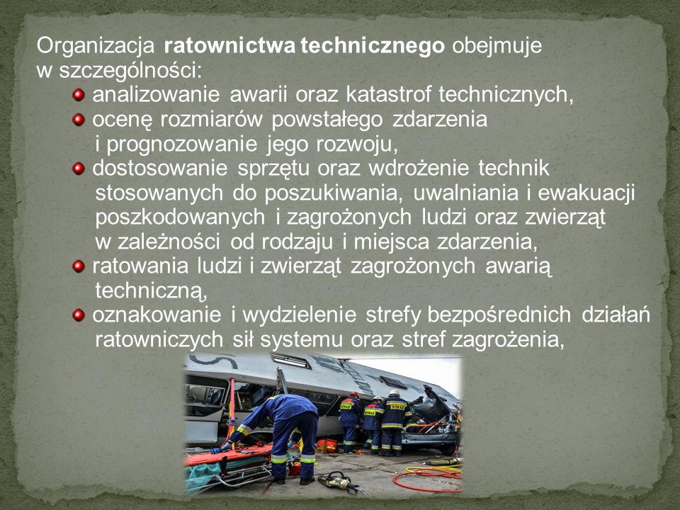 Organizacja ratownictwa technicznego obejmuje w szczególności: analizowanie awarii oraz katastrof technicznych, ocenę rozmiarów powstałego zdarzenia i