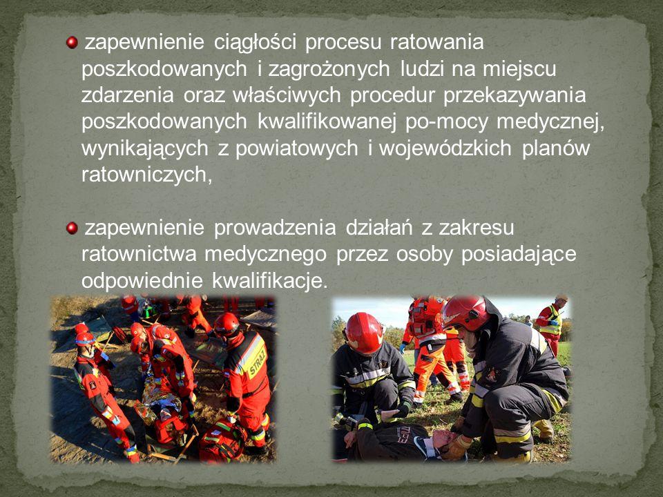 zapewnienie ciągłości procesu ratowania poszkodowanych i zagrożonych ludzi na miejscu zdarzenia oraz właściwych procedur przekazywania poszkodowanych