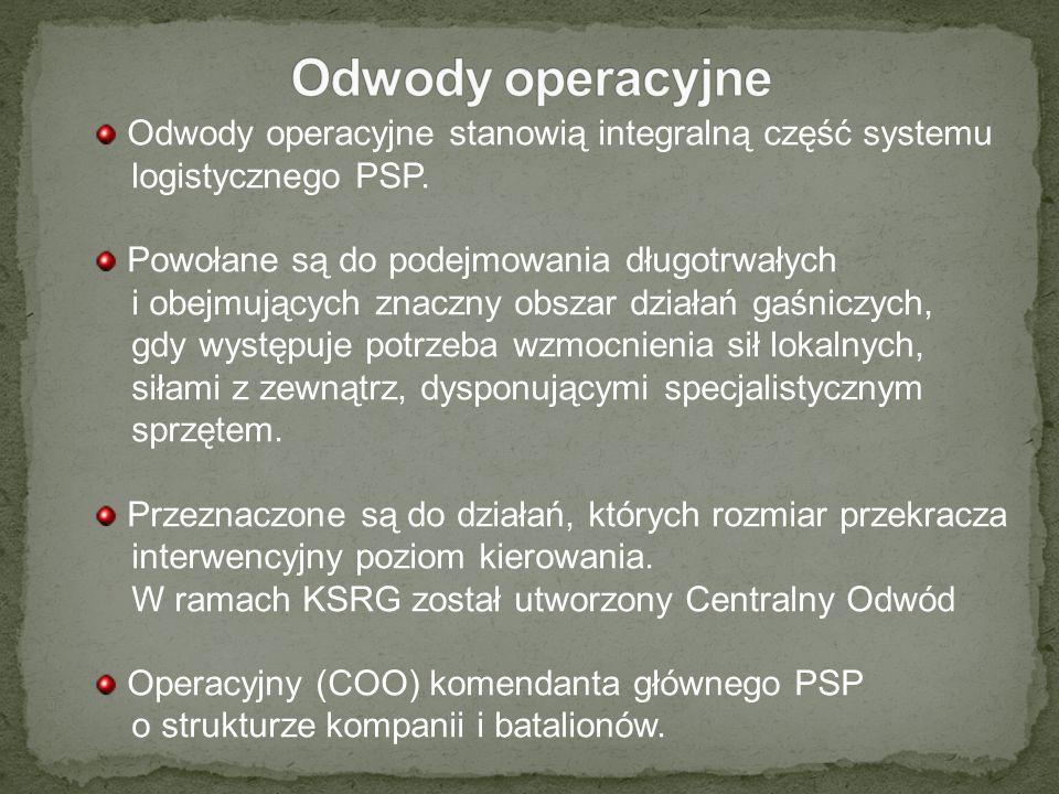 Odwody operacyjne stanowią integralną część systemu logistycznego PSP. Powołane są do podejmowania długotrwałych i obejmujących znaczny obszar działań