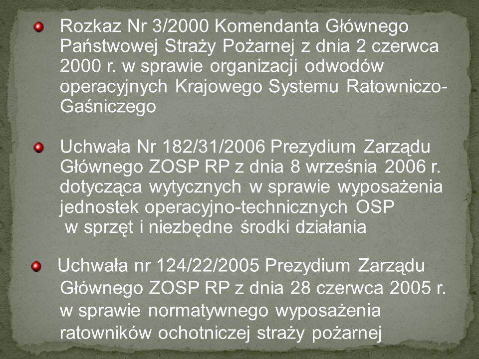 Rozkaz Nr 3/2000 Komendanta Głównego Państwowej Straży Pożarnej z dnia 2 czerwca 2000 r. w sprawie organizacji odwodów operacyjnych Krajowego Systemu