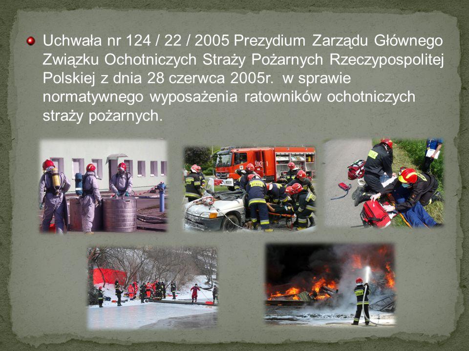 Uchwała nr 124 / 22 / 2005 Prezydium Zarządu Głównego Związku Ochotniczych Straży Pożarnych Rzeczypospolitej Polskiej z dnia 28 czerwca 2005r. w spraw