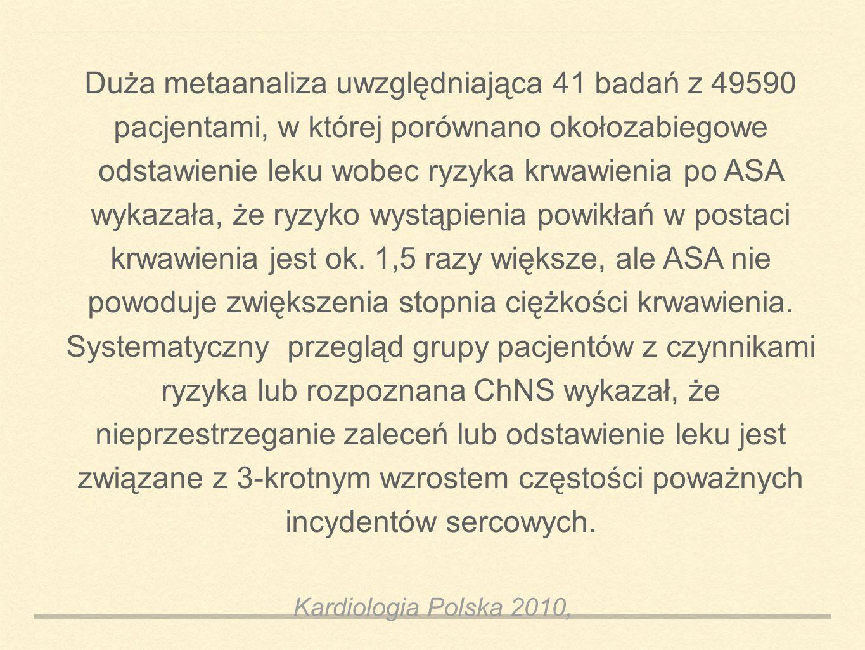 Kardiologia Polska 2010, Duża metaanaliza uwzględniająca 41 badań z 49590 pacjentami, w której porównano okołozabiegowe odstawienie leku wobec ryzyka