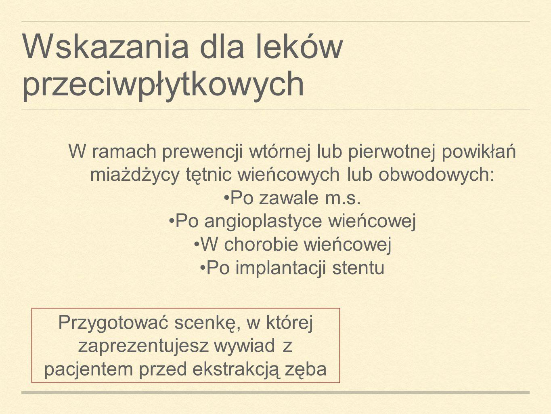 Wskazania dla leków przeciwpłytkowych W ramach prewencji wtórnej lub pierwotnej powikłań miażdżycy tętnic wieńcowych lub obwodowych: Po zawale m.s. Po