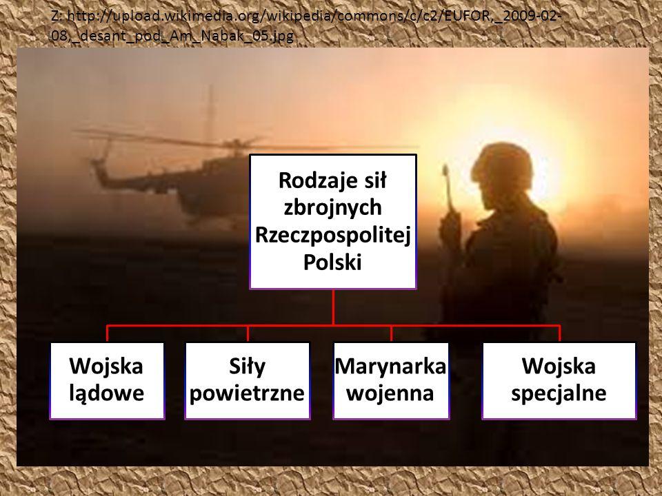 Rodzaje sił zbrojnych Rzeczpospolitej Polski Wojska lądowe Siły powietrzne Marynarka wojenna Wojska specjalne Z: http://upload.wikimedia.org/wikipedia