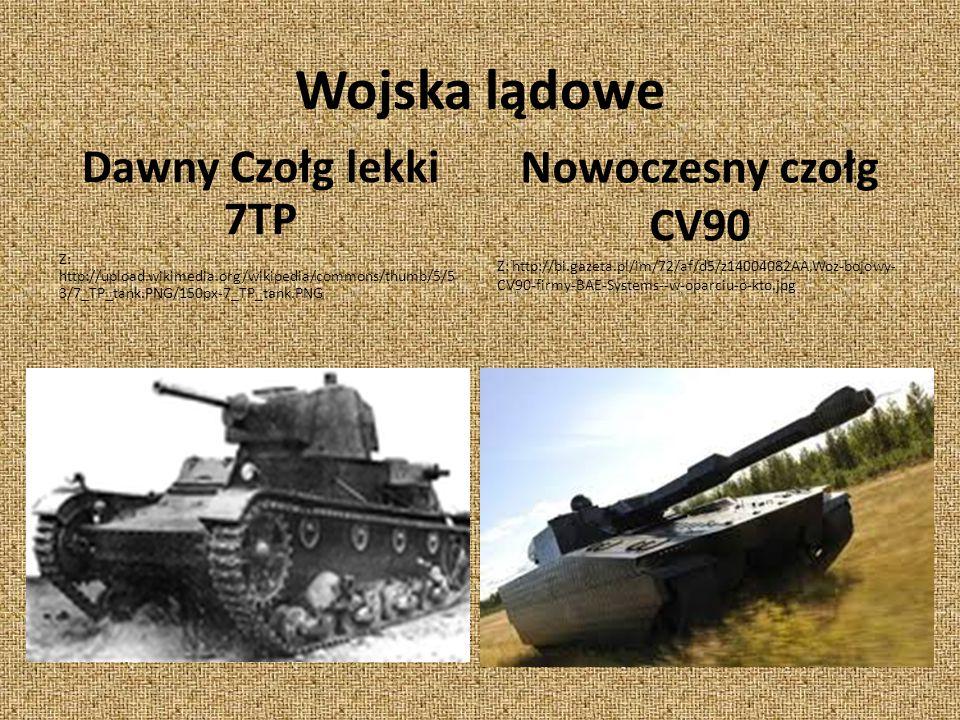 Wojska lądowe Dawny Czołg lekki 7TP Z: http://upload.wikimedia.org/wikipedia/commons/thumb/5/5 3/7_TP_tank.PNG/150px-7_TP_tank.PNG Nowoczesny czołg CV