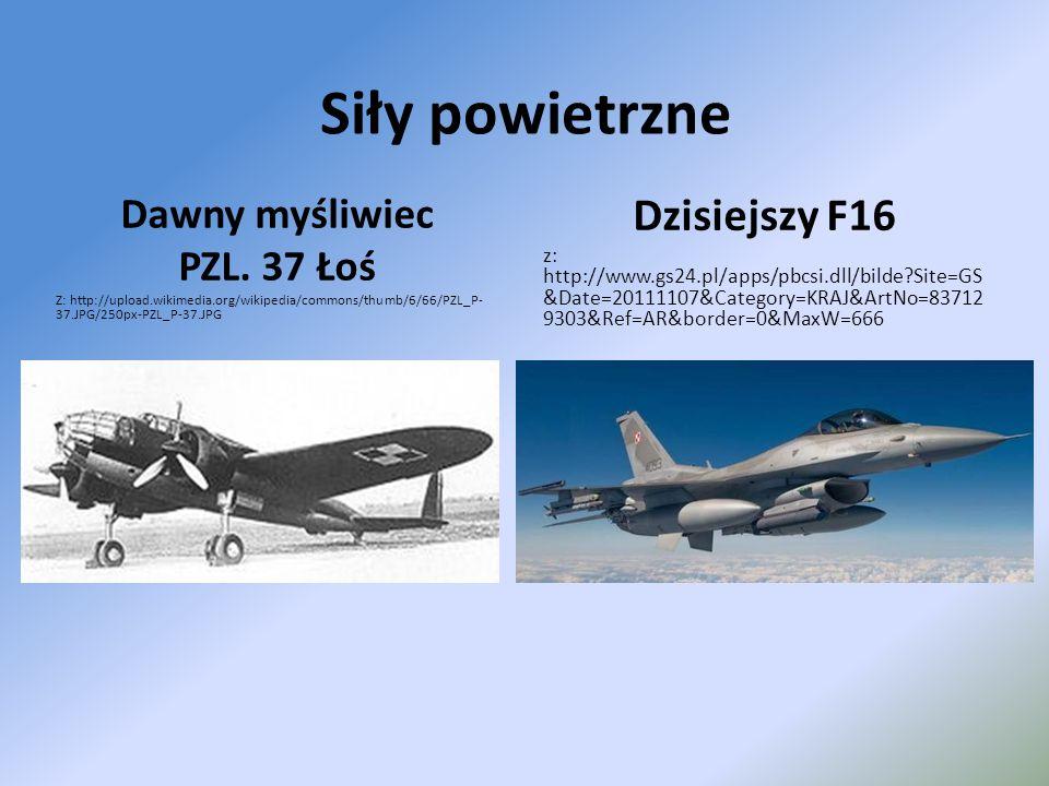 Siły powietrzne Dawny myśliwiec PZL. 37 Łoś Z: http://upload.wikimedia.org/wikipedia/commons/thumb/6/66/PZL_P- 37.JPG/250px-PZL_P-37.JPG Dzisiejszy F1