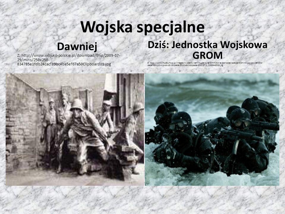 Mundury Dawniej: Mundur Wojska Polskiego II RP Z: http://upload.wikimedia.org/wikipedia/commons/8/85/1935_Mundury_p olskich_%C5%BCo%C5%82nierzy_01.jpg Dziś: Mundur Żołnierza Wojska Polskiego Z:http://grfbemowo.pl/mundury/2014/DSC_1677.jpg
