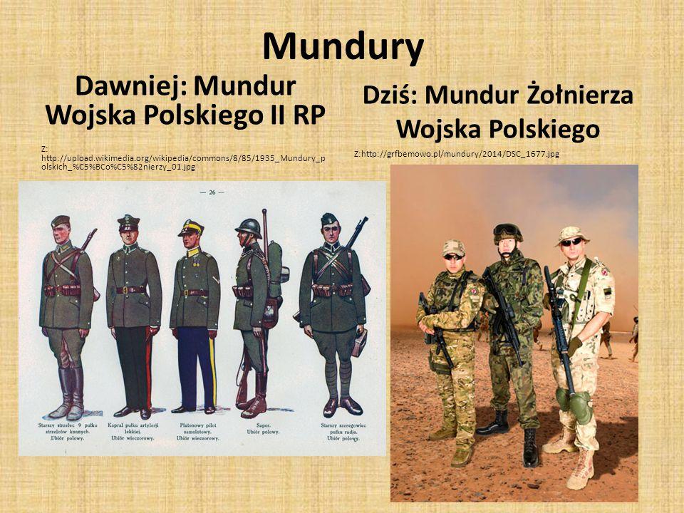 Mundury Dawniej: Mundur Wojska Polskiego II RP Z: http://upload.wikimedia.org/wikipedia/commons/8/85/1935_Mundury_p olskich_%C5%BCo%C5%82nierzy_01.jpg