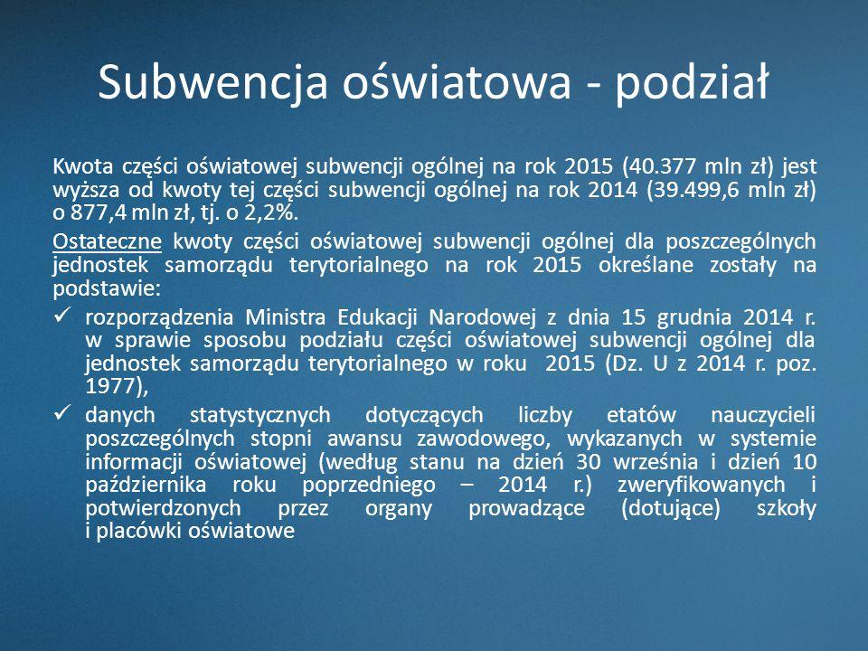Subwencja oświatowa - podział Kwota części oświatowej subwencji ogólnej na rok 2015 (40.377 mln zł) jest wyższa od kwoty tej części subwencji ogólnej