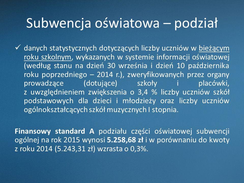 Subwencja oświatowa – podział danych statystycznych dotyczących liczby uczniów w bieżącym roku szkolnym, wykazanych w systemie informacji oświatowej (