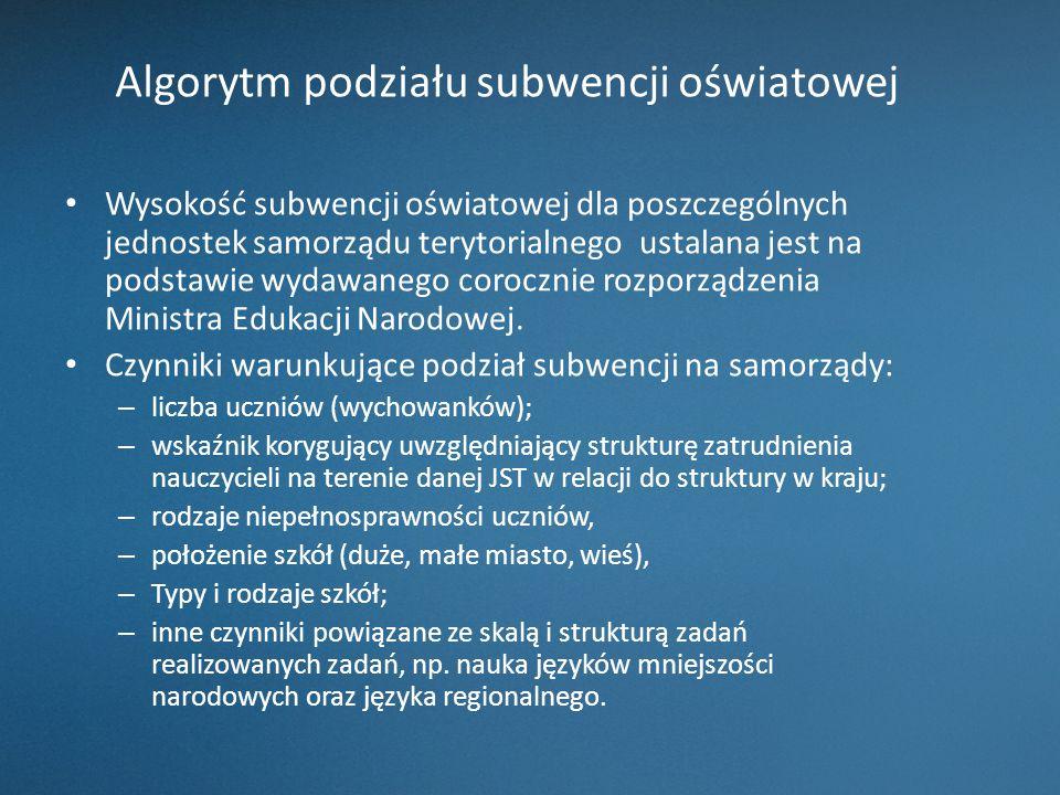 Algorytm podziału subwencji oświatowej Wysokość subwencji oświatowej dla poszczególnych jednostek samorządu terytorialnego ustalana jest na podstawie