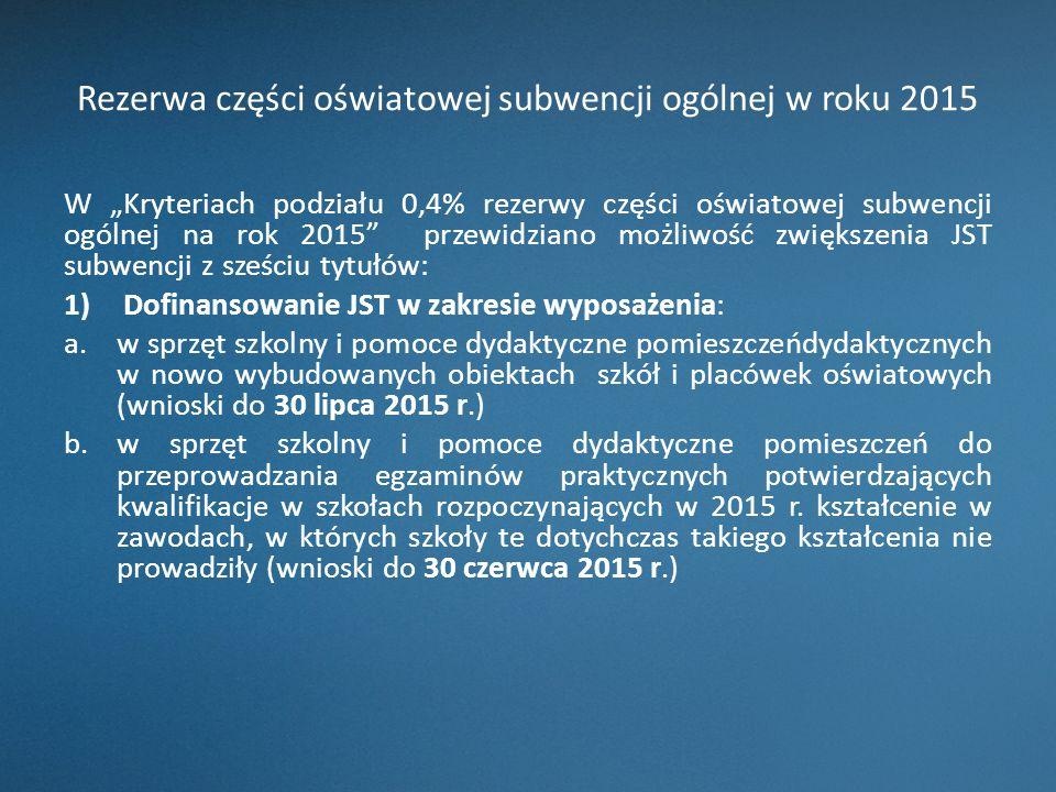 """Rezerwa części oświatowej subwencji ogólnej w roku 2015 W """"Kryteriach podziału 0,4% rezerwy części oświatowej subwencji ogólnej na rok 2015"""" przewidzi"""
