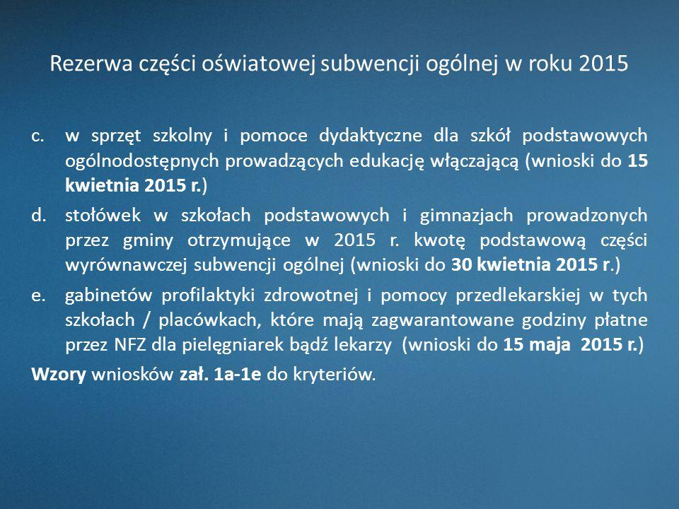 Rezerwa części oświatowej subwencji ogólnej w roku 2015 c.w sprzęt szkolny i pomoce dydaktyczne dla szkół podstawowych ogólnodostępnych prowadzących e