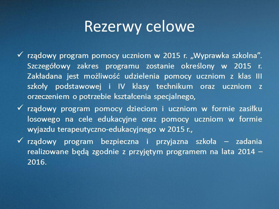 """Rezerwy celowe rządowy program pomocy uczniom w 2015 r. """"Wyprawka szkolna"""". Szczegółowy zakres programu zostanie określony w 2015 r. Zakładana jest mo"""