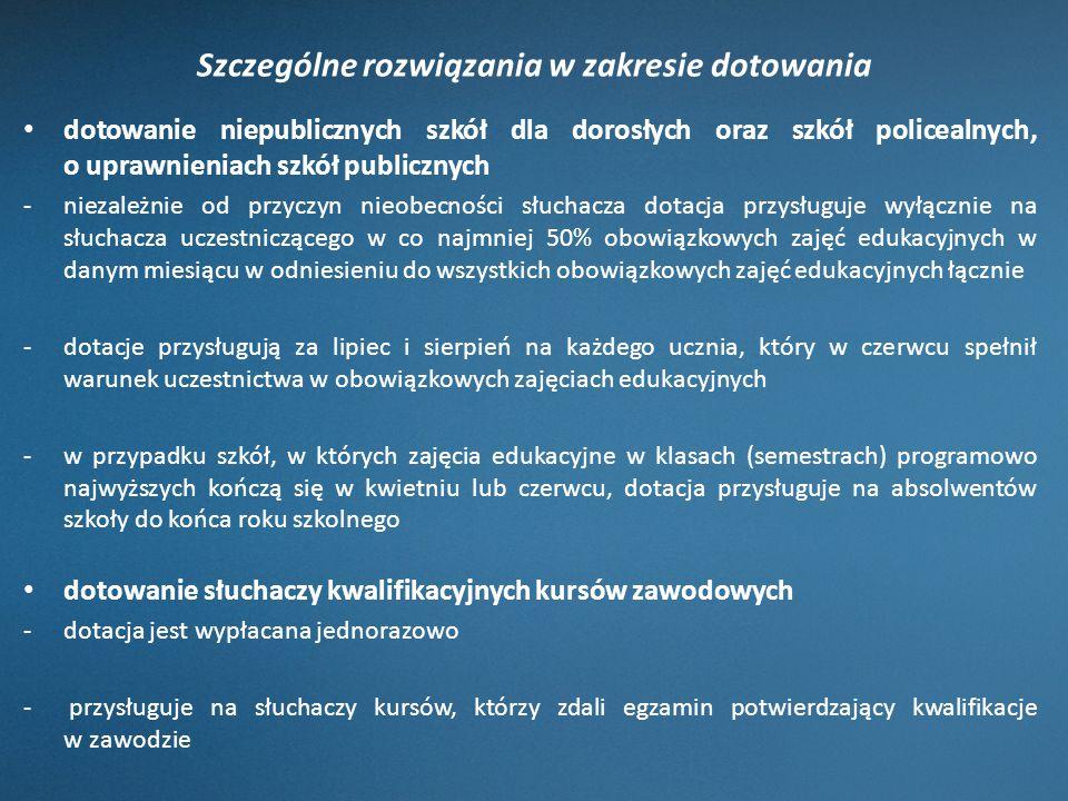 Szczególne rozwiązania w zakresie dotowania dotowanie niepublicznych szkół dla dorosłych oraz szkół policealnych, o uprawnieniach szkół publicznych -n