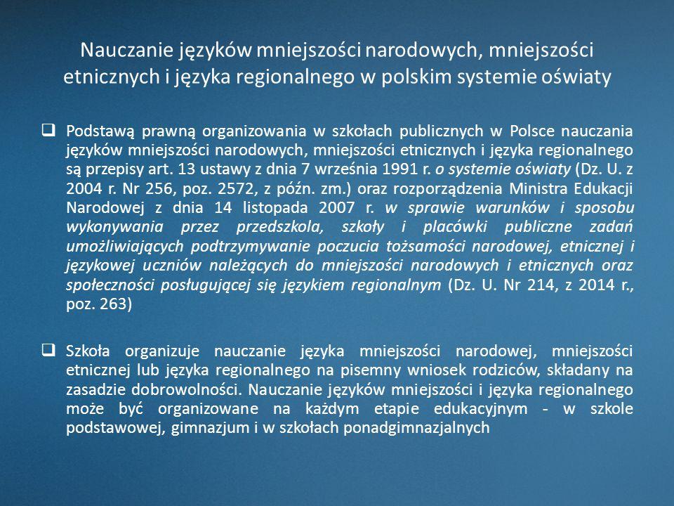 Nauczanie języków mniejszości narodowych, mniejszości etnicznych i języka regionalnego w polskim systemie oświaty  Podstawą prawną organizowania w sz