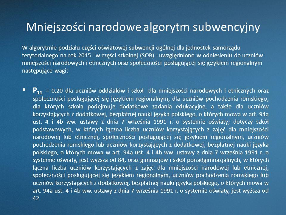Mniejszości narodowe algorytm subwencyjny W algorytmie podziału części oświatowej subwencji ogólnej dla jednostek samorządu terytorialnego na rok 2015