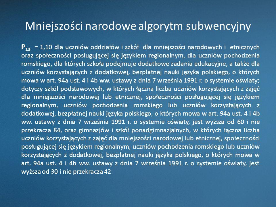 Mniejszości narodowe algorytm subwencyjny P 13 = 1,10 dla uczniów oddziałów i szkół dla mniejszości narodowych i etnicznych oraz społeczności posługuj