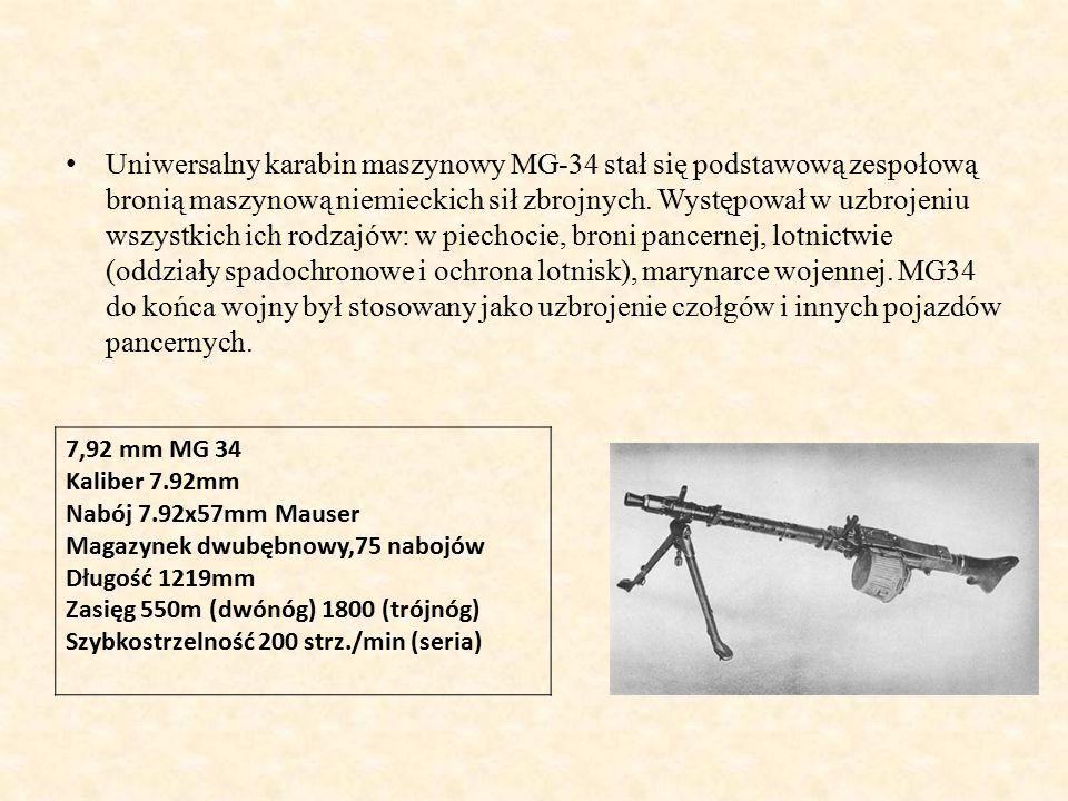 Uniwersalny karabin maszynowy MG-34 stał się podstawową zespołową bronią maszynową niemieckich sił zbrojnych.