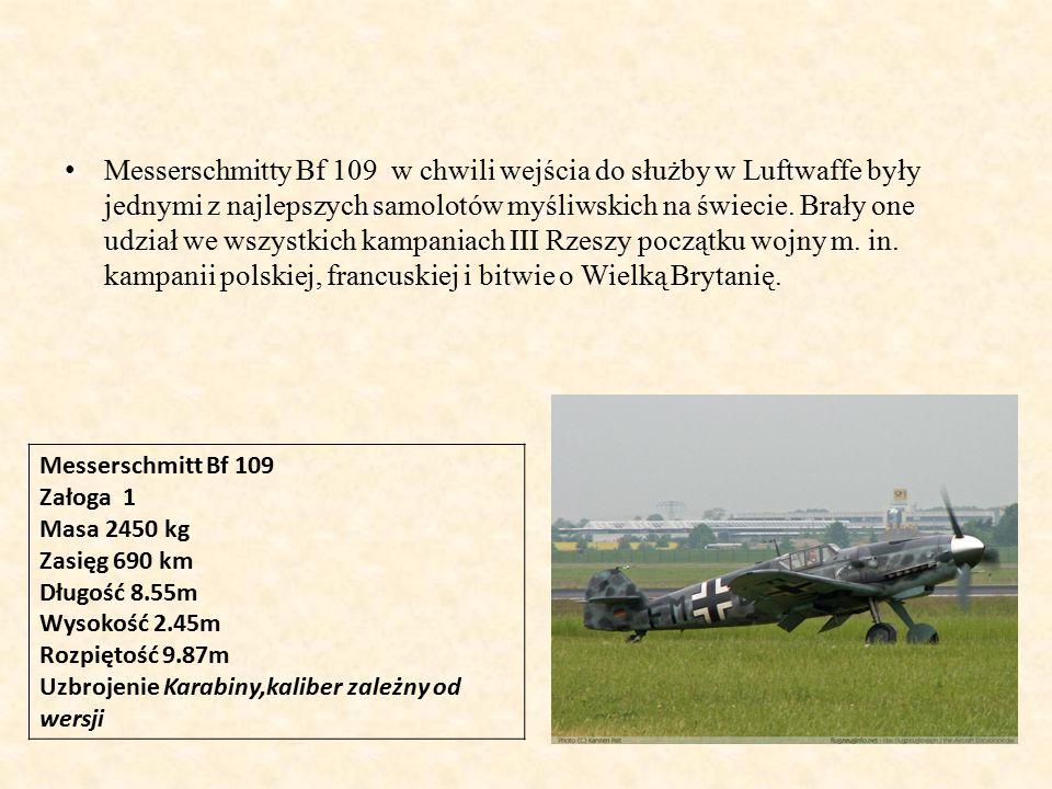 Messerschmitty Bf 109 w chwili wejścia do służby w Luftwaffe były jednymi z najlepszych samolotów myśliwskich na świecie.