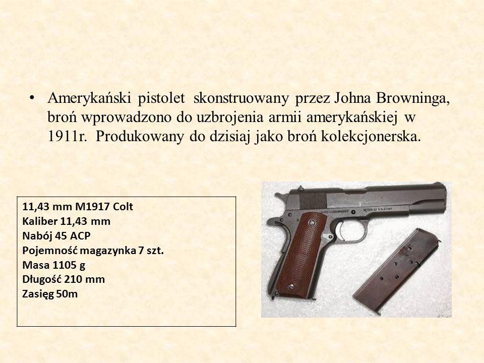 Amerykański pistolet skonstruowany przez Johna Browninga, broń wprowadzono do uzbrojenia armii amerykańskiej w 1911r.