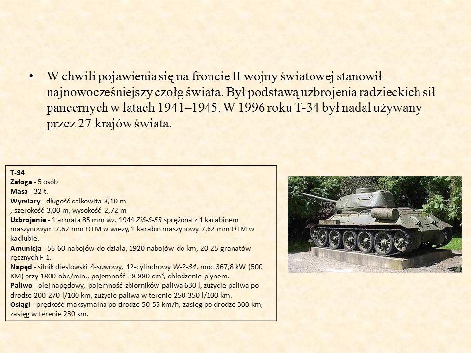 W chwili pojawienia się na froncie II wojny światowej stanowił najnowocześniejszy czołg świata.