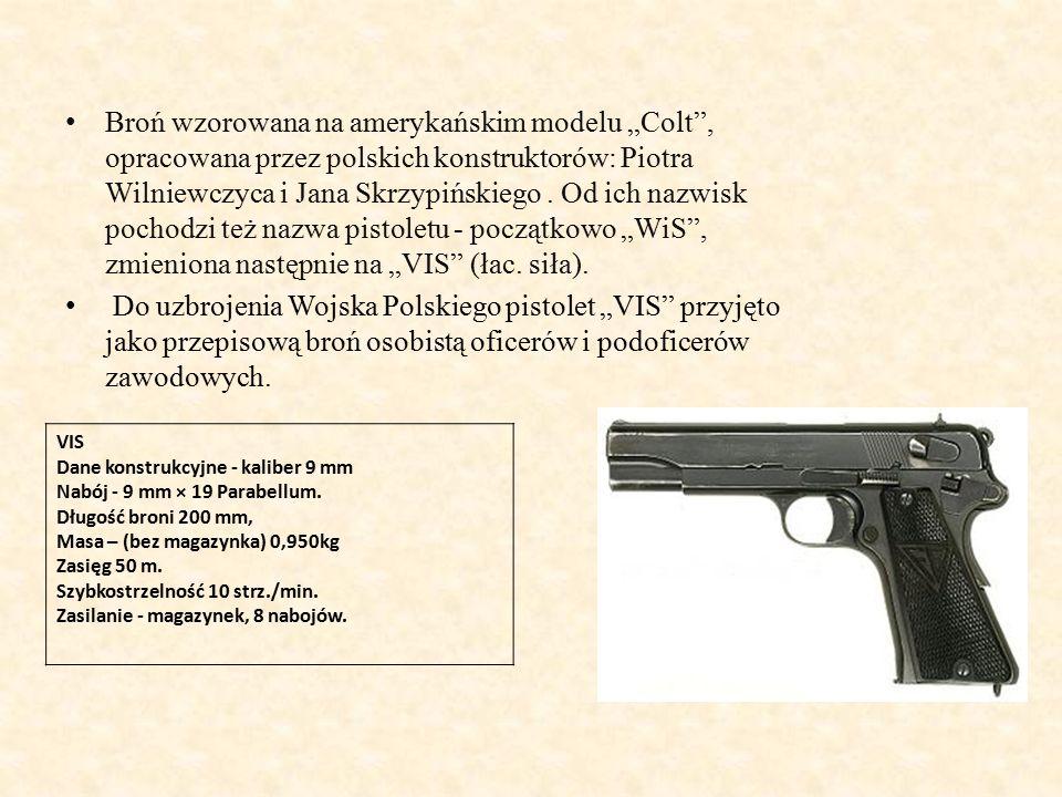 """Broń wzorowana na amerykańskim modelu """"Colt , opracowana przez polskich konstruktorów: Piotra Wilniewczyca i Jana Skrzypińskiego."""