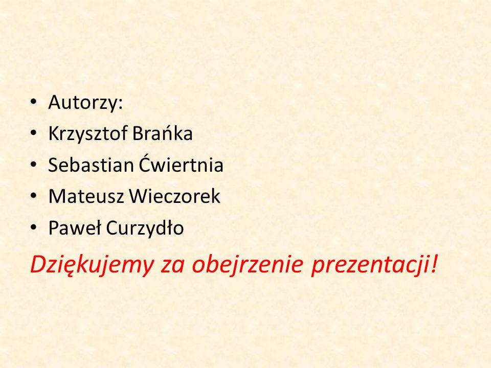Autorzy: Krzysztof Brańka Sebastian Ćwiertnia Mateusz Wieczorek Paweł Curzydło Dziękujemy za obejrzenie prezentacji!
