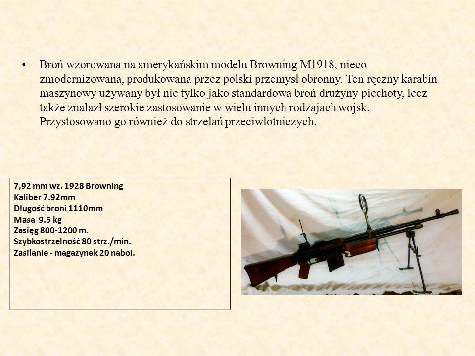 Broń wzorowana na amerykańskim modelu Browning M1918, nieco zmodernizowana, produkowana przez polski przemysł obronny.