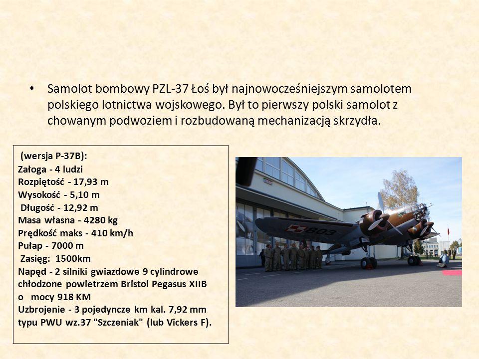Samolot bombowy PZL-37 Łoś był najnowocześniejszym samolotem polskiego lotnictwa wojskowego.