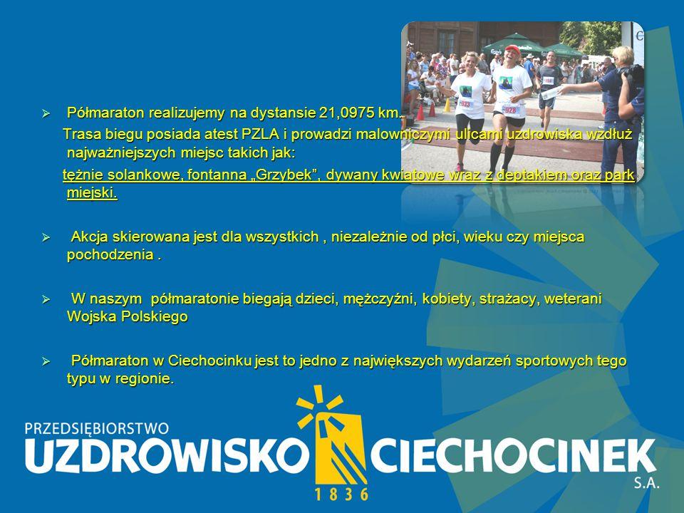 Nasze wydarzenia sportowe Od 2012 roku jesteśmy organizatorem Półmaratonu Od 2012 roku jesteśmy organizatorem Półmaratonu na terenie miasta Ciechocinek, którym towarzyszą również : na terenie miasta Ciechocinek, którym towarzyszą również : Mistrzostwa Polski w Nordic Walking, Biegi młodzieżowe, Biegi dla osób niepełnosprawnych Mistrzostwa Polski w Nordic Walking, Biegi młodzieżowe, Biegi dla osób niepełnosprawnych  I Maraton Termy Ciechocinek 2012 r.