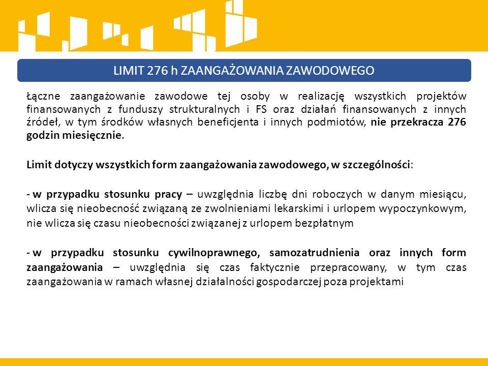 Łączne zaangażowanie zawodowe tej osoby w realizację wszystkich projektów finansowanych z funduszy strukturalnych i FS oraz działań finansowanych z innych źródeł, w tym środków własnych beneficjenta i innych podmiotów, nie przekracza 276 godzin miesięcznie.