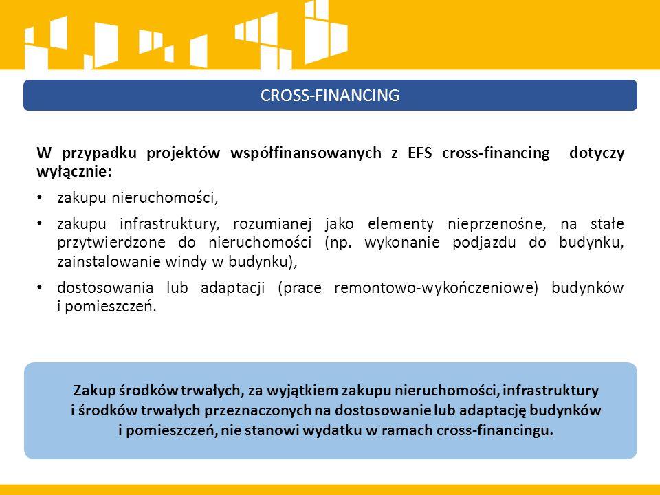 ŚRODKI TRWAŁE W ramach projektów współfinansowanych z EFS wartość wydatków poniesionych na zakup środków trwałych o wartości jednostkowej równej i wyższej niż 350 PLN netto w ramach kosztów bezpośrednich projektu oraz wydatków w ramach cross-financingu nie może łącznie przekroczyć 10% wydatków projektu.