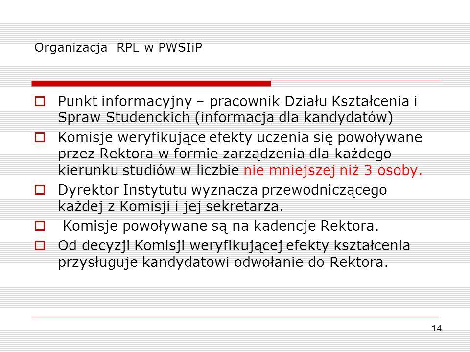 Organizacja RPL w PWSIiP  Punkt informacyjny – pracownik Działu Kształcenia i Spraw Studenckich (informacja dla kandydatów)  Komisje weryfikujące ef