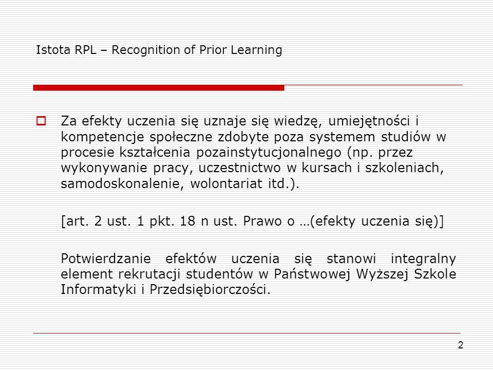 Istota RPL – Recognition of Prior Learning  Za efekty uczenia się uznaje się wiedzę, umiejętności i kompetencje społeczne zdobyte poza systemem studi
