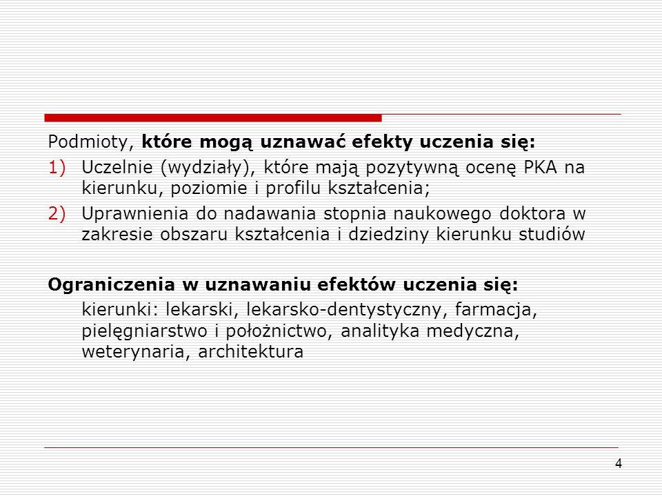 Podmioty, które mogą uznawać efekty uczenia się: 1)Uczelnie (wydziały), które mają pozytywną ocenę PKA na kierunku, poziomie i profilu kształcenia; 2)