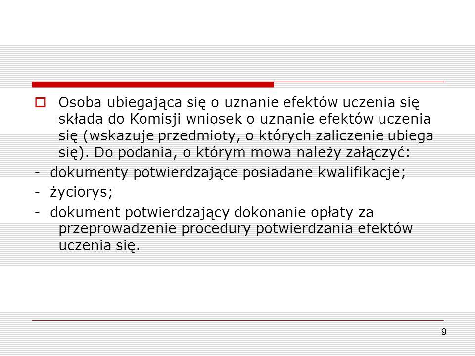  Osoba ubiegająca się o uznanie efektów uczenia się składa do Komisji wniosek o uznanie efektów uczenia się (wskazuje przedmioty, o których zaliczeni