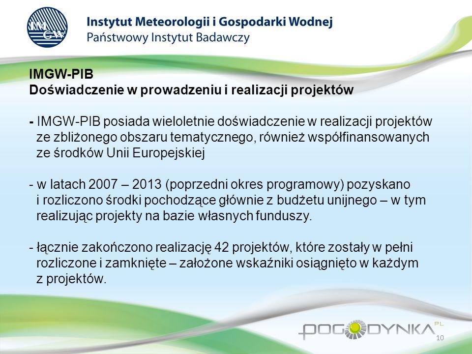 IMGW-PIB Doświadczenie w prowadzeniu i realizacji projektów - IMGW-PIB posiada wieloletnie doświadczenie w realizacji projektów ze zbliżonego obszaru tematycznego, również współfinansowanych ze środków Unii Europejskiej - w latach 2007 – 2013 (poprzedni okres programowy) pozyskano i rozliczono środki pochodzące głównie z budżetu unijnego – w tym realizując projekty na bazie własnych funduszy.