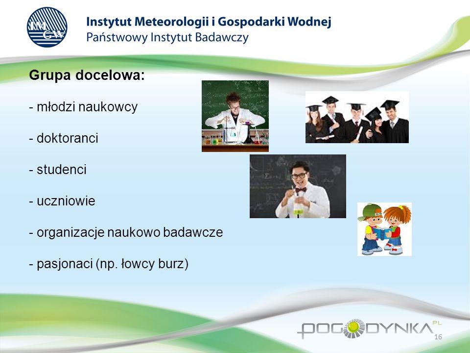 Grupa docelowa: - młodzi naukowcy - doktoranci - studenci - uczniowie - organizacje naukowo badawcze - pasjonaci (np.