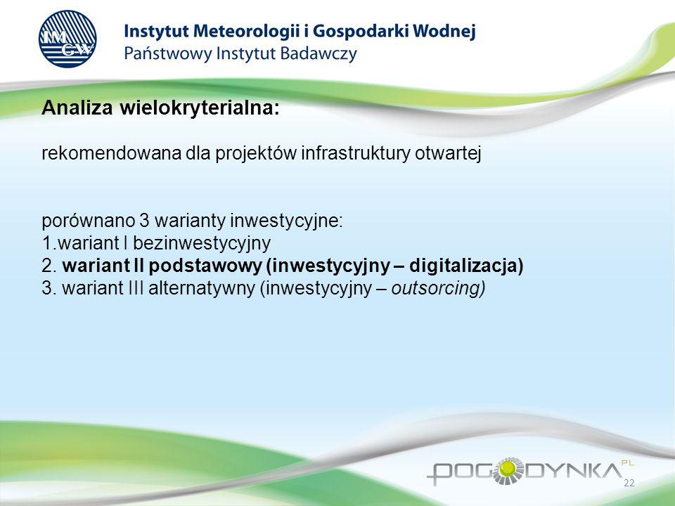 Analiza wielokryterialna: rekomendowana dla projektów infrastruktury otwartej porównano 3 warianty inwestycyjne: 1.wariant I bezinwestycyjny 2.