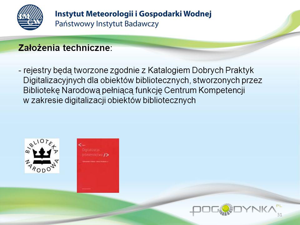 Założenia techniczne: - rejestry będą tworzone zgodnie z Katalogiem Dobrych Praktyk Digitalizacyjnych dla obiektów bibliotecznych, stworzonych przez Bibliotekę Narodową pełniącą funkcję Centrum Kompetencji w zakresie digitalizacji obiektów bibliotecznych 31