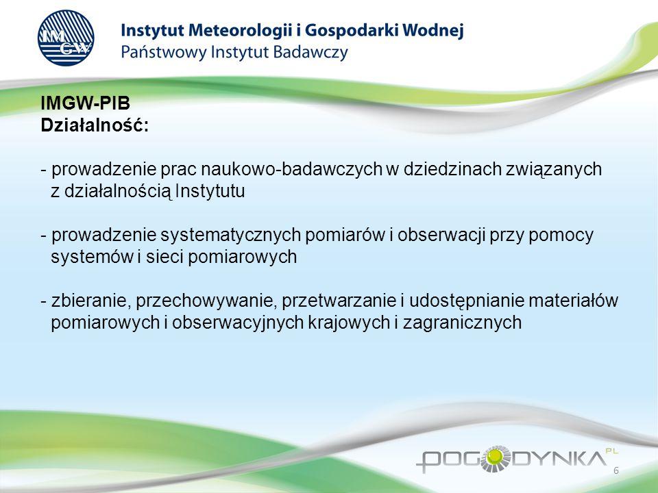 IMGW-PIB Działalność: - prowadzenie prac naukowo-badawczych w dziedzinach związanych z działalnością Instytutu - prowadzenie systematycznych pomiarów i obserwacji przy pomocy systemów i sieci pomiarowych - zbieranie, przechowywanie, przetwarzanie i udostępnianie materiałów pomiarowych i obserwacyjnych krajowych i zagranicznych 6
