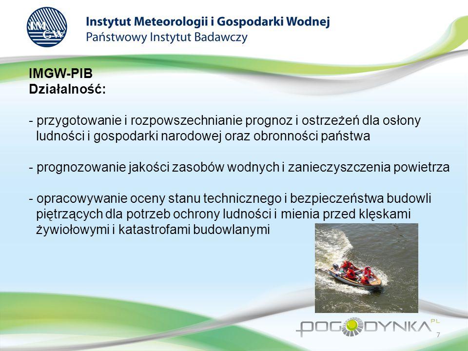 IMGW-PIB Działalność: - doskonalenie i podnoszenie kwalifikacji naukowych i zawodowych kadr oraz nadawanie stopni naukowych - gromadzenie, przetwarzanie i upowszechnianie informacji naukowej, technicznej i ekonomicznej z dziedzin będących przedmiotem działalności - prowadzenie działalności wydawniczej 8
