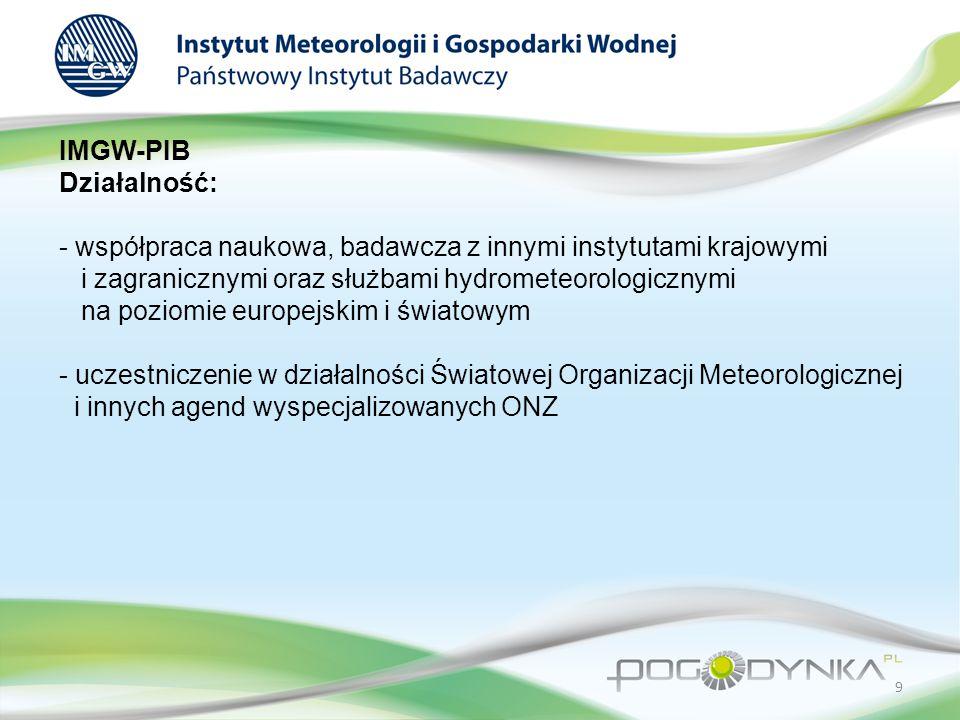 IMGW-PIB Działalność: - współpraca naukowa, badawcza z innymi instytutami krajowymi i zagranicznymi oraz służbami hydrometeorologicznymi na poziomie europejskim i światowym - uczestniczenie w działalności Światowej Organizacji Meteorologicznej i innych agend wyspecjalizowanych ONZ 9