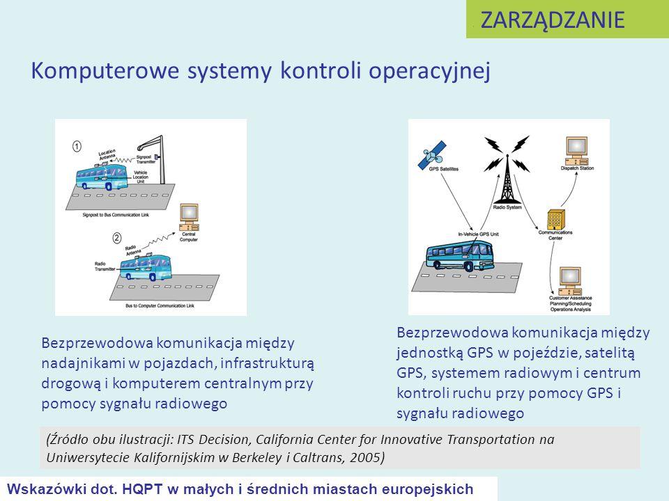 Komputerowe systemy kontroli operacyjnej Bezprzewodowa komunikacja między jednostką GPS w pojeździe, satelitą GPS, systemem radiowym i centrum kontrol